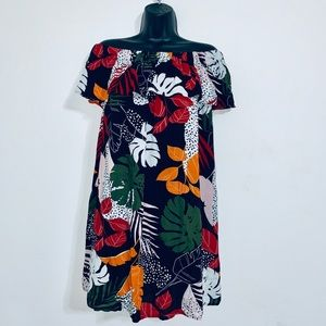 Dresses & Skirts - Tropical Print Cold Shoulder Mini Dress Size 12
